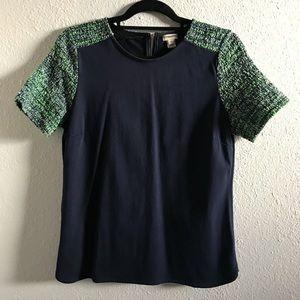 J.CREW blue w neon green tweed short sleeves